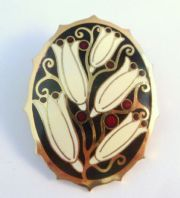 Vintage Cloisonne Enamel Large White Lily Flower Brooch By Fish And Crown.